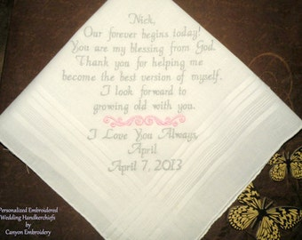 Wedding Gift To Groom from his Bride Fiance Gift Our Forever Begins Today Embroidered Wedding Hankderchief Wedding Gift by Canyon Embroidery