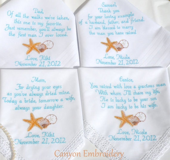 Destination Wedding Gifts For Parents : Wedding Handkerchief Wedding Gift, Destination Wedding Gifts ...