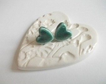 Small green heart stud  ceramic  earrings - sterling silver posts