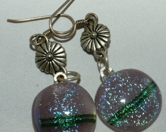 Sparkling dichroic earrings.