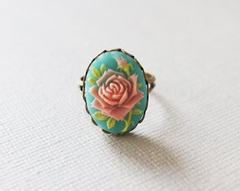 Vintage Style Rose Cameo Ring. flower cameo ring. adjustable ring. antique brass ring.