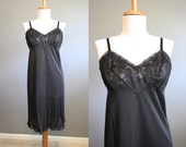 1960s Slip Vintage Black Lingerie Lace Full Vanity Fair 36 Medium
