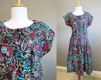 Black Dress Vintage Colorful Rainbow Dolman 80s Floral Medium