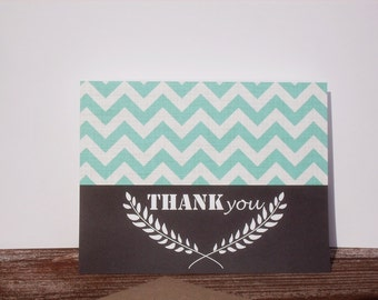 Thank You Card - Black Chalkboard Style Thank You Note, White Chalk Laurel Leaves Chevron Thank You Card, Chevron Color Choice, Fern Leaf