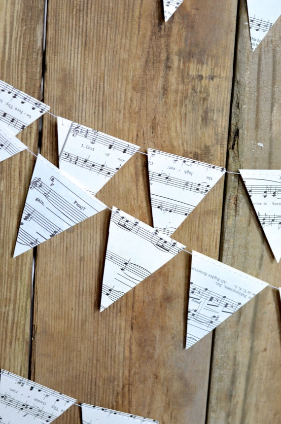 Vintage Music Triangle Garland  - 10, 15 or 30 feet of bunting