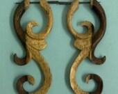 Ma'ayan Curls - Organic Wood Post Earrings Two Tone 1