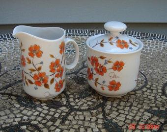 Sugar bowl and Creamer - Winter Dogwood Original Design by Saltera - 1976 Japan