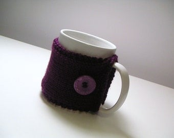 Dark Purple Knitted Mug Cozy with Lavender Button - Raisin
