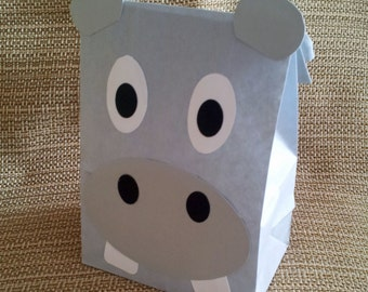 Hippo Treat Sacks - Jungle Zoo Safari Jungle Theme Birthday Party Favor Bags by jettabees on Etsy
