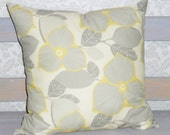 Amy Butler Pillow, 18 inch Pillow Cover, Modern Pillow Cover, Reversible Pillow, Gray and Mustard