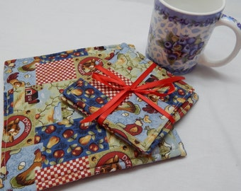 Trivet and Coaster Set Chickens, Fruit, Country style, Gift Under 20, Hostess Gift