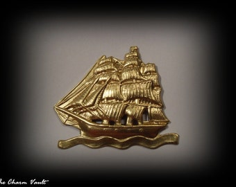 CLOSE OUT SALE 2 Pirate Ship 1970 Sail Boat Pendants Raw Brass Charms Stamping Jewelry Findings (A-155)