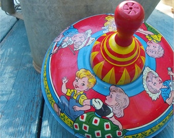 SPINNING METAL TOP, Children Dancing and Playing Instruments, Ohio Art, 1945-1958, Vintage Tin Litho Toy