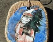 Rustic Stoneware Santa Ornament