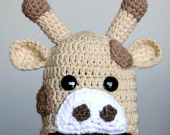 Crochet Giraffe Hat - Baby Giraffe Hat - Toddler - Child - Adult Sizes- Made to Order - Halloween Costume - Crochet Baby Hat