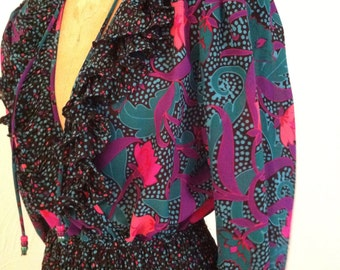 Vibrant Fuchsia and Green on Black Vintage ASSORTI for Susan Freis Georgette Dress S