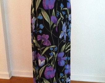 Blue Tropical Flowers on Black Vintage CACHE Flutter Palazzo Pants S