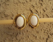 MONET White and Gold-Tone Dome Clip On Vintage Earrings