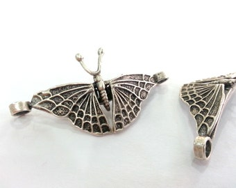 Silver Bracelet Connector Antique Silver Plated Brass Butterfly Connector with two holes  G2462