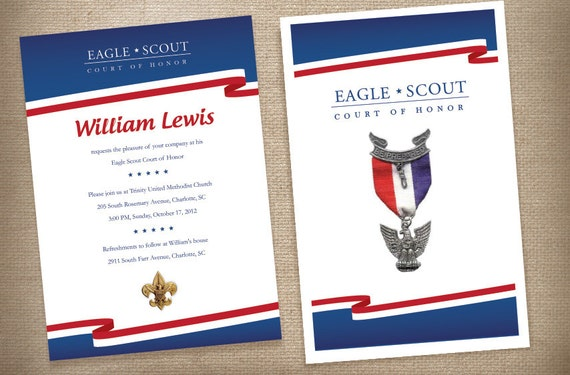 eagle scout invitations with coordinating program cover red