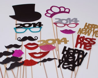 2015 New Years Party Photo Prop mustcahe on a stick mustache on a stick photo prop DIY Kit  27 piece set