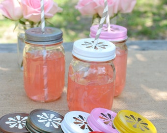 24 Daisy Cut Mason Jar Lids for Candle making or Beverages Choose from 9 colors
