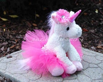 Magical Unicorn Plush with Removable Pink Tutu and Hair Clip ~ Different Unicorn Colors Available