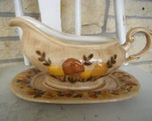 Arnel's Ceramic Mushroom Gravy Boat and Under Plate