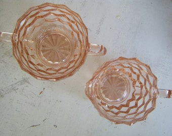 Peachy Depression Glass Sugar and Cream