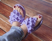 Crochet PATTERN Women's Crocodile Stitch Slippers (3 sizes included) INSTANT download