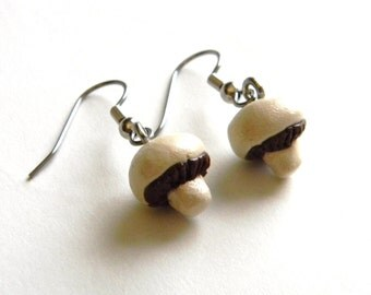 Mushroom Charm Dangle Earrings - Silver Plated Chain - Handmade with Polymer Clay - Fashion Statement Jewelry - Gifts Under 15, 20, 25