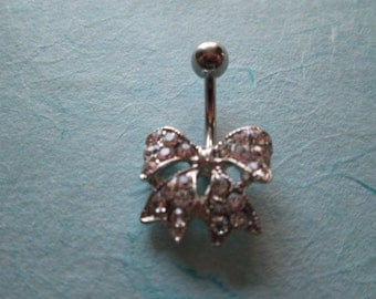 rhinestone bow belly button ring