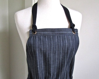 Full  Apron Woman Denim Indigo Stripe Apron  Work Apron Custom Made