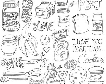Peanut Butter & Jelly Digital Stamps, Whimsical Doodle Outlines, PNG + Photoshop Brush, Hand Embroidery Templates, Food Clip Art