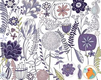 Gray & Purple Flower ClipArt, Modern Digital Flower Graphics, Easter Lavender,  Commercial Use Image, Whimsical Floral Clip Art
