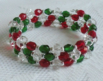 Christmas Wrap-Around Bracelet - Ruby Red, Emerald Green and Clear Czech Fire-Polished Glass - Available in Gold or Silver