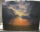 Lightning Storm Over The Wheat Field, Rain, Farm, Clouds Original Landscape Oil Painting