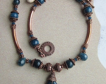 SiRenSonG - Dark Teal Apatite Gemstone and Copper Necklace