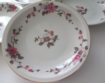 Vintage Empire China Meito Rosella Floral Rimmed Soup Bowls Set of Four