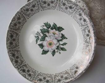 Vintage Pink Gold Floral Cronin Soup Bowls Set of Four - Mid Century