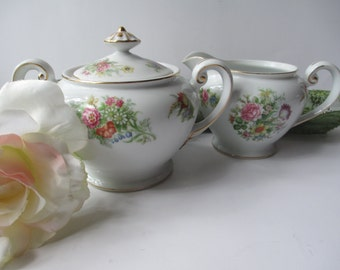 Cream and Sugar Set Aichi China Occupied Japan Floral - Vintage Chic