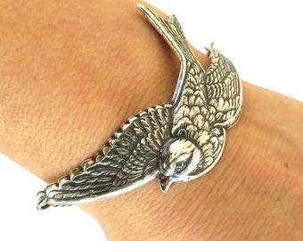 Steampunk Sparrow Bracelet- Bird Bracelet- Sterling Silver Ox Finish