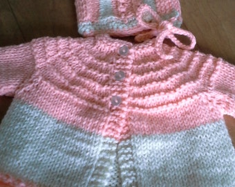 Hand Knitted Baby Girl Boy Infant  Cardigan Sweater/Hat