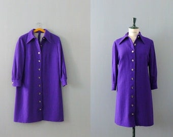 Vintage 1960s dress. 60s wool shift dress. violet button front dress / as is