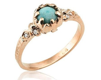 Rose Gold Engagement Ring, Turquoise Ring, Antique Style Turquoise Diamond Ring, Rose Gold Ring, Turquoise Wedding, Turquoise Birthstone