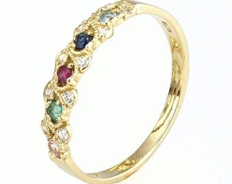 Braided Gemstone and diamonds 14k Gold, Gemstone Stacking Ring, Stackable Diamond Ring