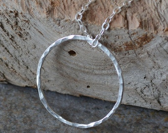 SALE Fine Silver Ring Pendant Necklace Fused Fine Silver Handmade Hammered Hoop Floating Silver Ring Sterling Silver Necklace Modern Jewelry