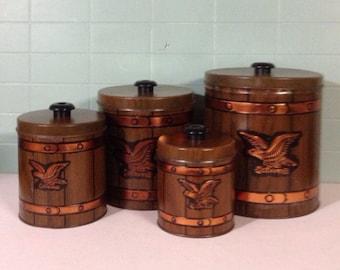 Vintage Americana Tin Canister Set