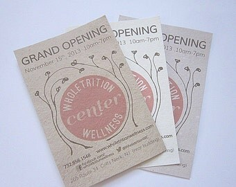 Custom Flyers - Handmade Paper Flyers - Custom Printed Flyers - Recycled Cards - Eco Friendly Business Cards