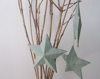 Handmade Paper 3D Ornament Star - Forest Green 3D Star Hang Tags - Recycled Home Decoration